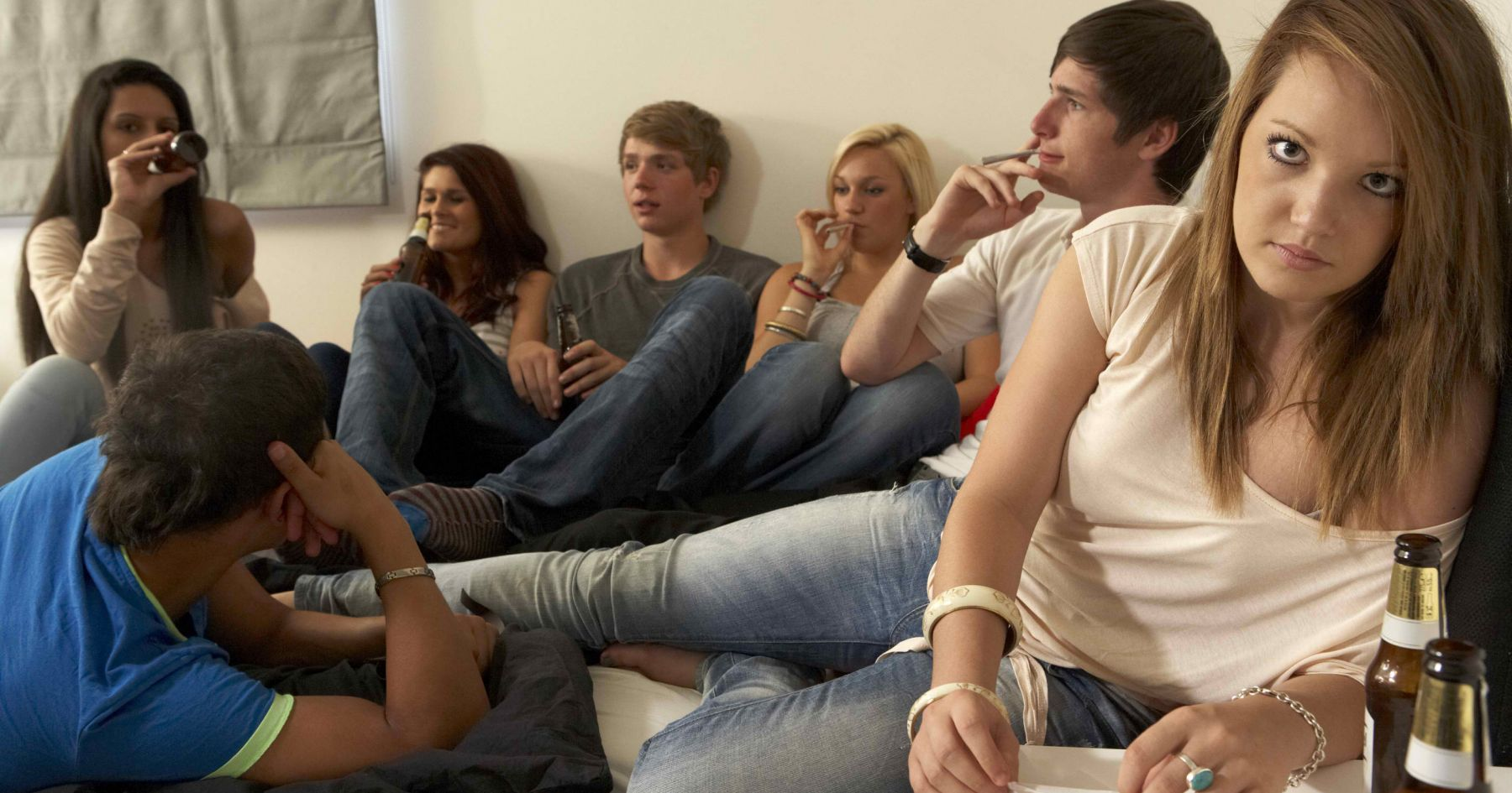 Image of young people smoking and drinking